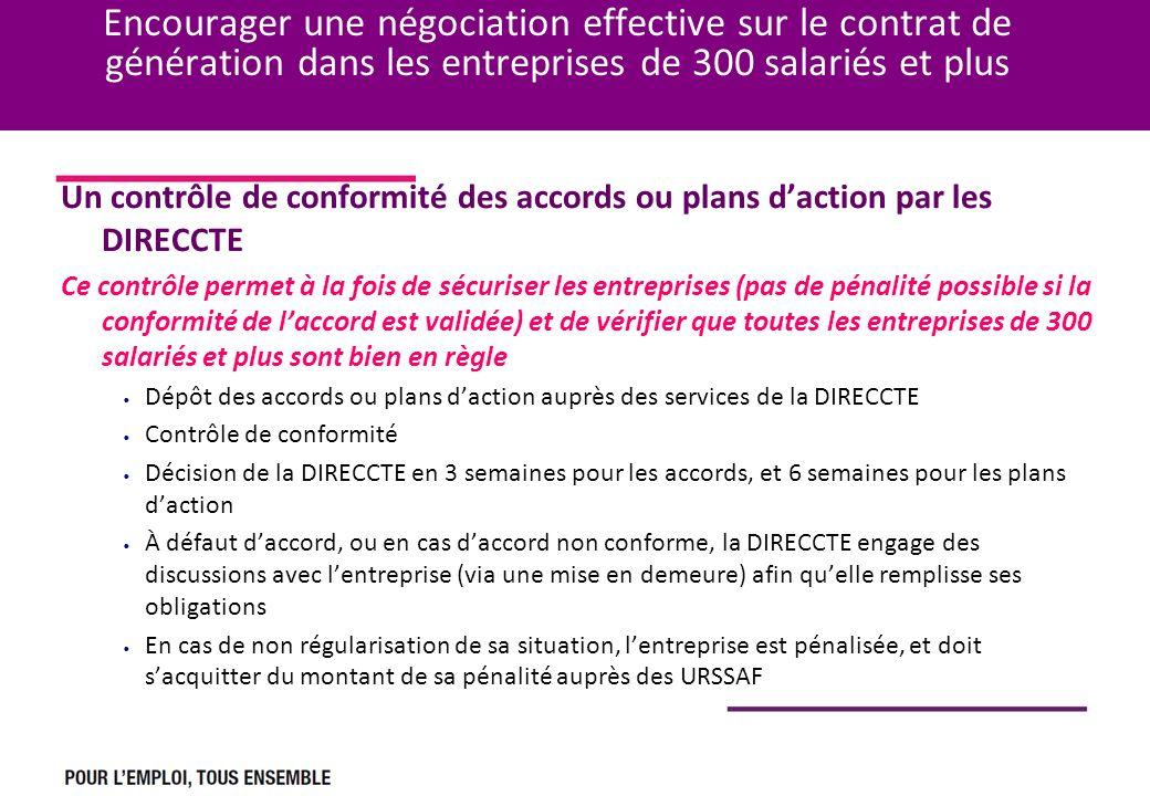 Encourager une négociation effective sur le contrat de génération dans les entreprises de 300 salariés et plus Un contrôle de conformité des accords o