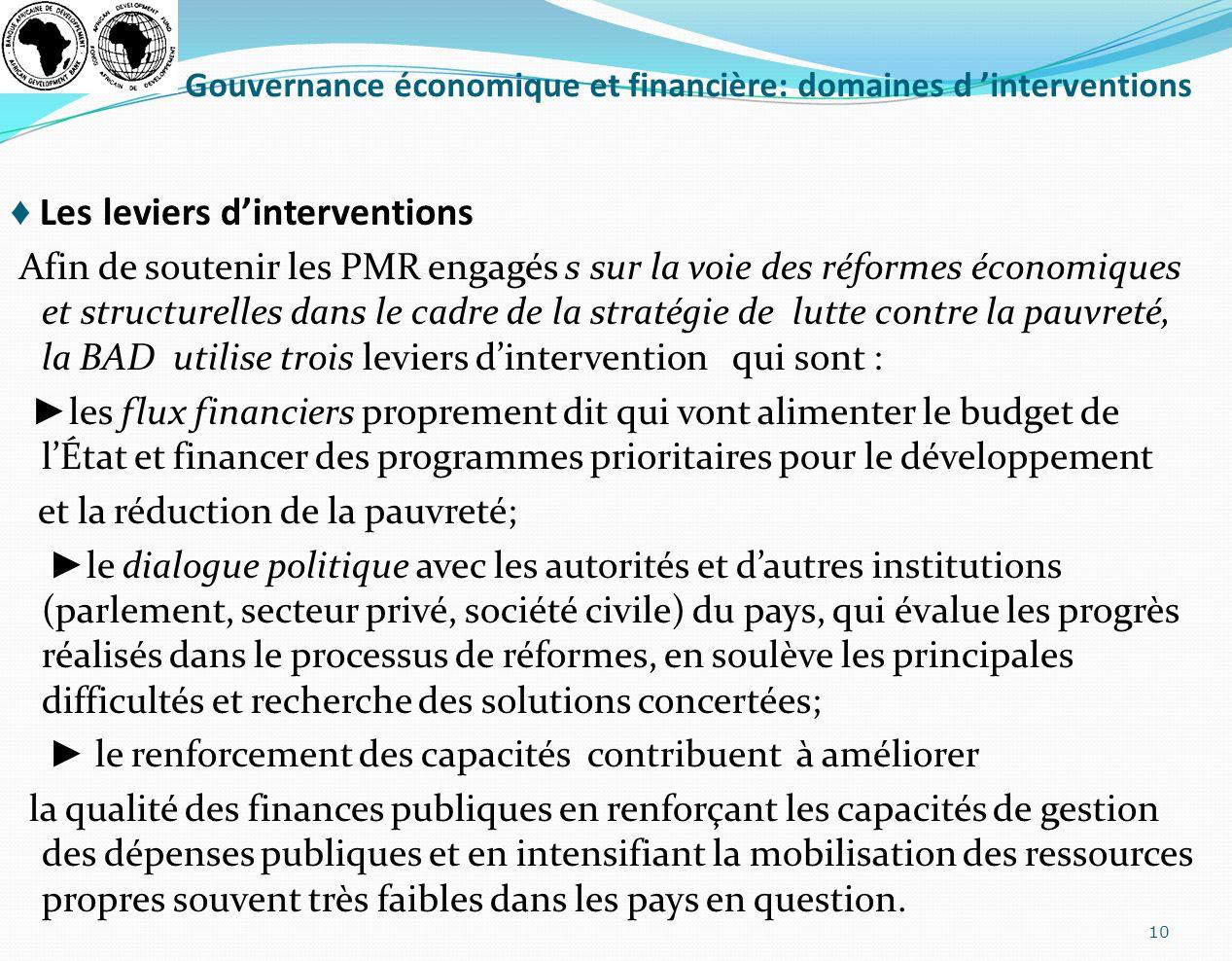 Gouvernance économique et financière: domaines d interventions Les leviers dinterventions Afin de soutenir les PMR engagés s sur la voie des réformes