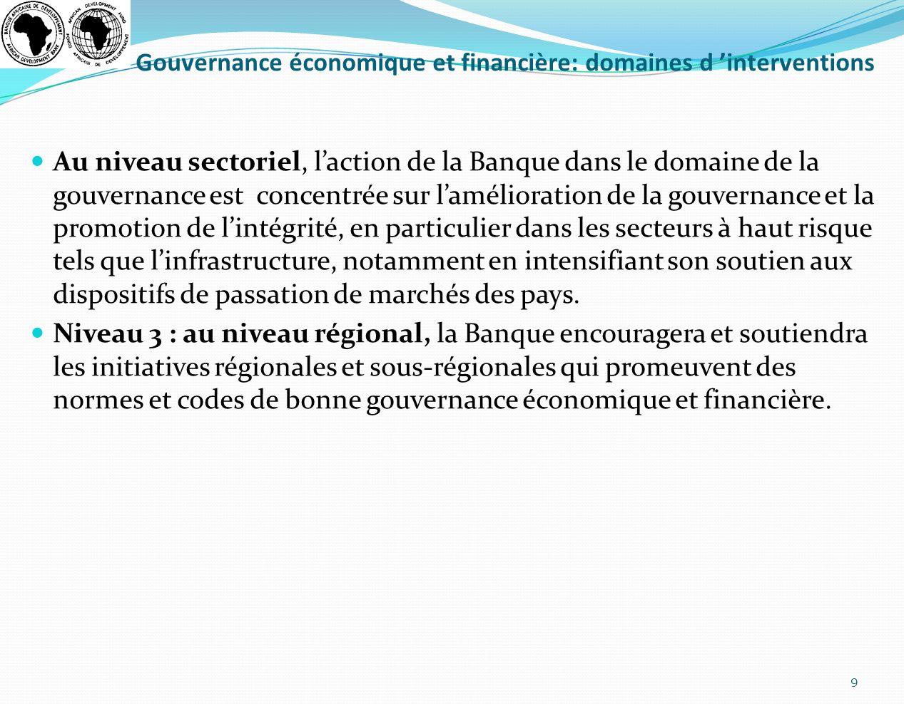 Gouvernance économique et financière: domaines d interventions Au niveau sectoriel, laction de la Banque dans le domaine de la gouvernance est concent