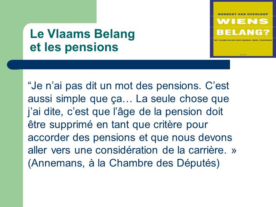Le Vlaams Belang et les pensions Je nai pas dit un mot des pensions.