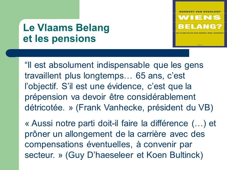 Le Vlaams Belang et les pensions Il est absolument indispensable que les gens travaillent plus longtemps… 65 ans, cest lobjectif.