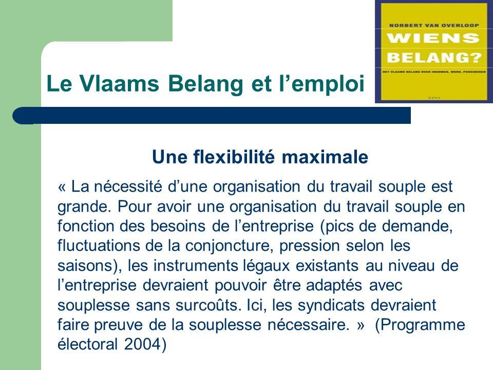 Le Vlaams Belang et lemploi Une flexibilité maximale « La nécessité dune organisation du travail souple est grande.