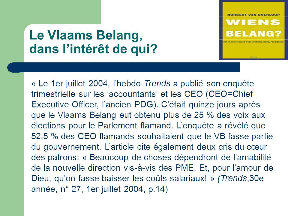 Le Vlaams Belang, dans lintérêt de qui.