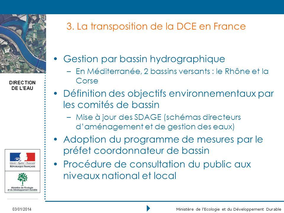 DIRECTION DE LEAU 03/01/2014 Ministère de lEcologie et du Développement Durable 3.