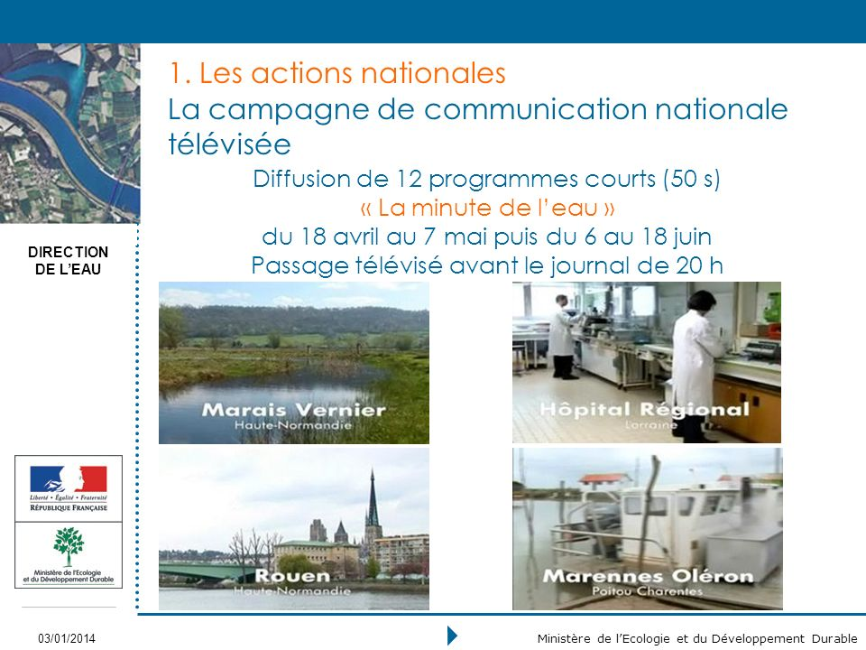 DIRECTION DE LEAU 03/01/2014 Ministère de lEcologie et du Développement Durable 1.