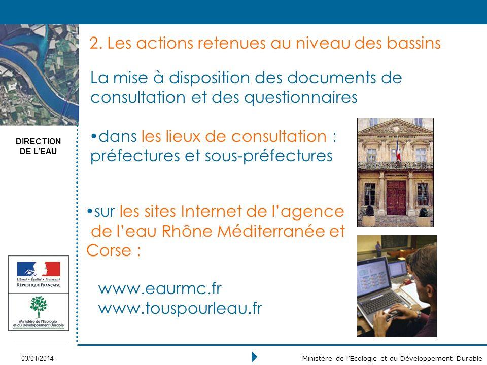 DIRECTION DE LEAU 03/01/2014 Ministère de lEcologie et du Développement Durable 2.