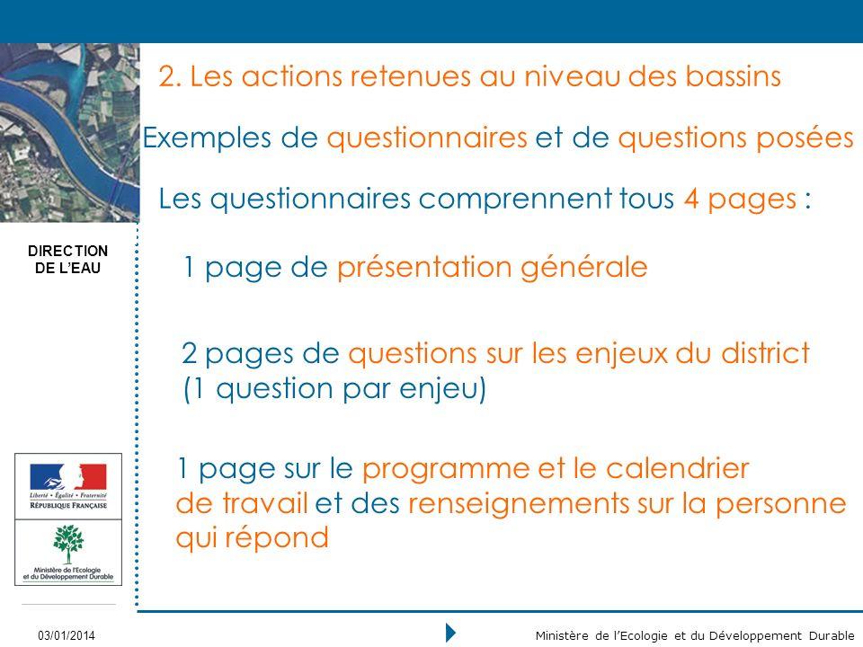 DIRECTION DE LEAU 03/01/2014 Ministère de lEcologie et du Développement Durable Exemples de questionnaires et de questions posées 2.
