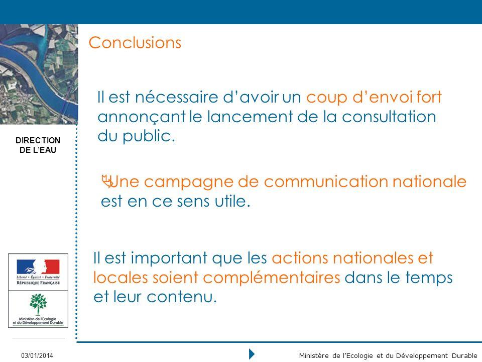DIRECTION DE LEAU 03/01/2014 Ministère de lEcologie et du Développement Durable Conclusions Il est nécessaire davoir un coup denvoi fort annonçant le lancement de la consultation du public.
