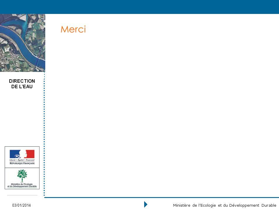 DIRECTION DE LEAU 03/01/2014 Ministère de lEcologie et du Développement Durable Merci