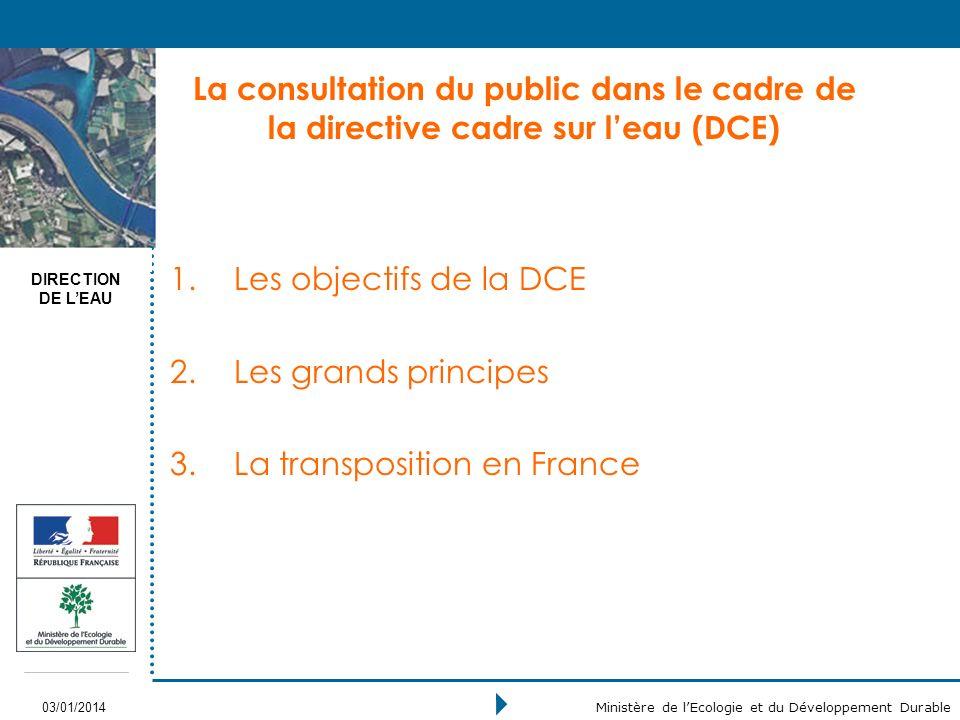 DIRECTION DE LEAU 03/01/2014 Ministère de lEcologie et du Développement Durable La consultation du public dans le cadre de la directive cadre sur leau (DCE) 1.Les objectifs de la DCE 2.Les grands principes 3.La transposition en France