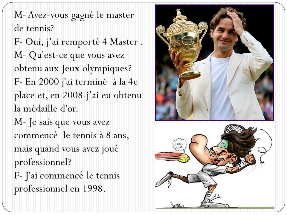 M- Avez-vous gagné le master de tennis? F- Oui, jai remporté 4 Master. M- Qu'est-ce que vous avez obtenu aux Jeux olympiques? F- En 2000 j'ai terminé