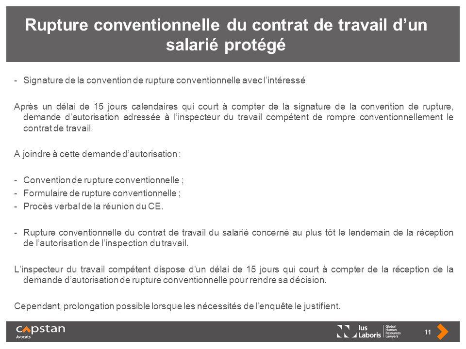 Rupture conventionnelle du contrat de travail dun salarié protégé -Signature de la convention de rupture conventionnelle avec lintéressé Après un déla