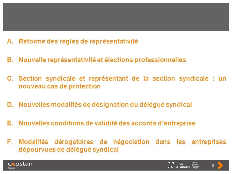 A.Réforme des règles de représentativité B.Nouvelle représentativité et élections professionnelles C.Section syndicale et représentant de la section s