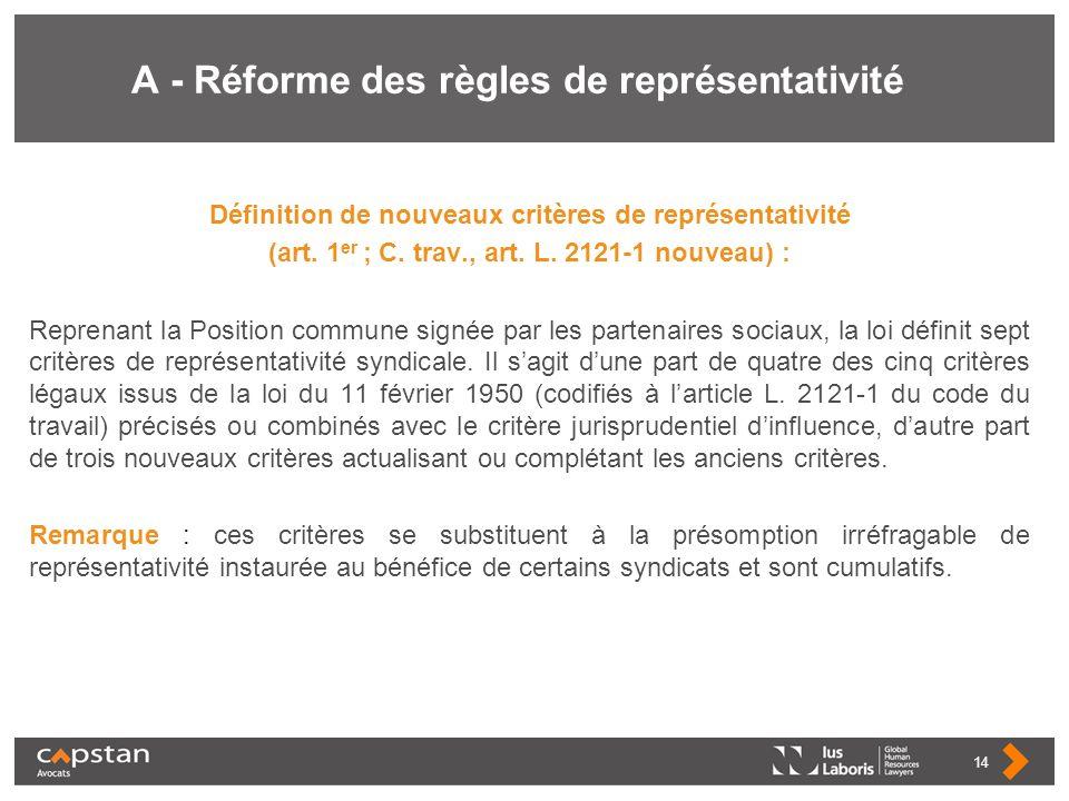 A - Réforme des règles de représentativité Définition de nouveaux critères de représentativité (art. 1 er ; C. trav., art. L. 2121-1 nouveau) : Repren