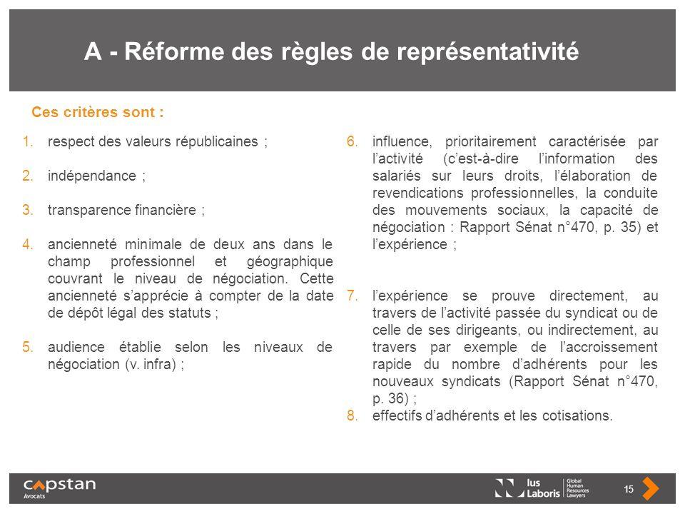 A - Réforme des règles de représentativité Ces critères sont : 15 1.respect des valeurs républicaines ; 2.indépendance ; 3.transparence financière ; 4