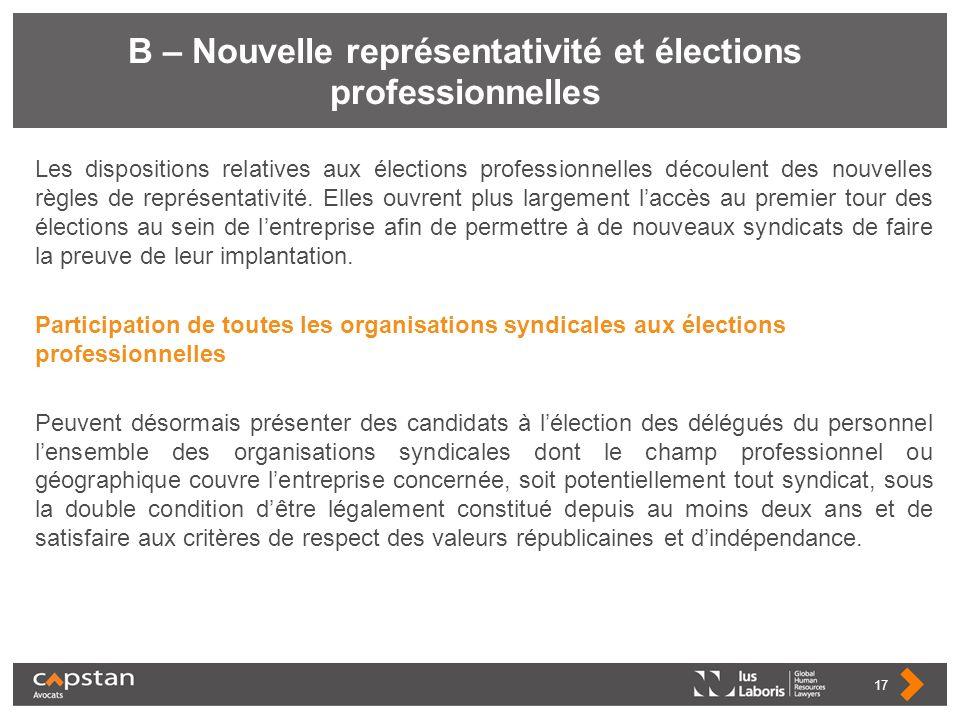 B – Nouvelle représentativité et élections professionnelles Les dispositions relatives aux élections professionnelles découlent des nouvelles règles d
