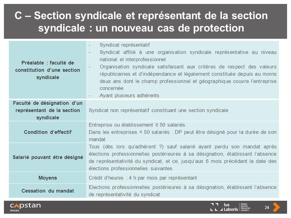 C – Section syndicale et représentant de la section syndicale : un nouveau cas de protection Préalable : faculté de constitution dune section syndical