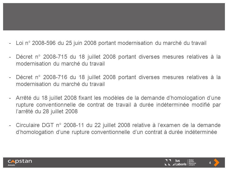 -Loi n° 2008-596 du 25 juin 2008 portant modernisation du marché du travail -Décret n° 2008-715 du 18 juillet 2008 portant diverses mesures relatives
