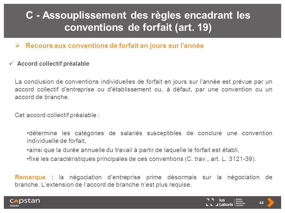 C - Assouplissement des règles encadrant les conventions de forfait (art. 19) Recours aux conventions de forfait en jours sur lannée Accord collectif