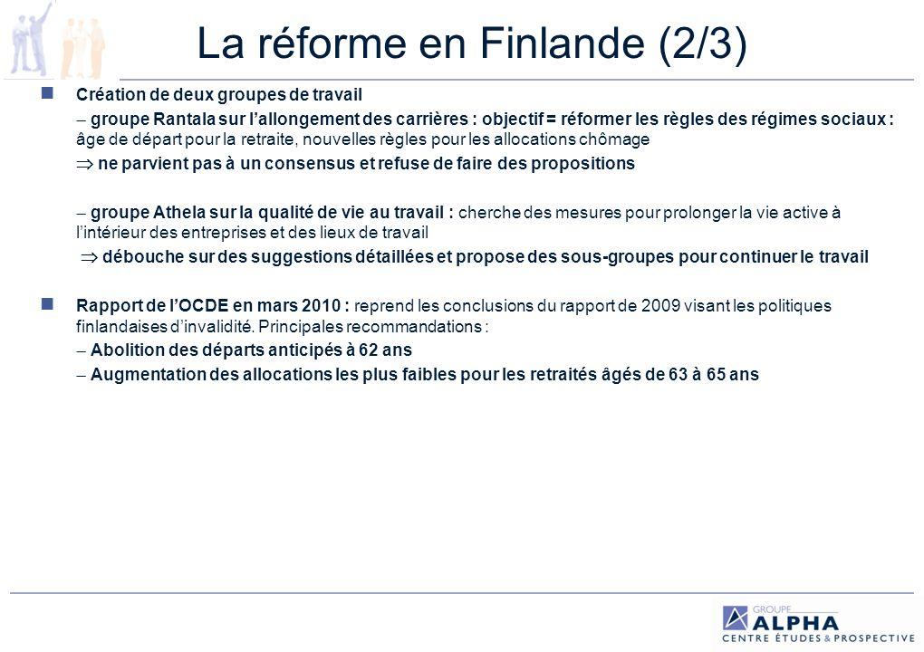 La réforme en Finlande (3/3) Création de 6 sous-groupes de travail tripartites pour préparer les futures mesures devant aboutir à un recul de lâge de départ.