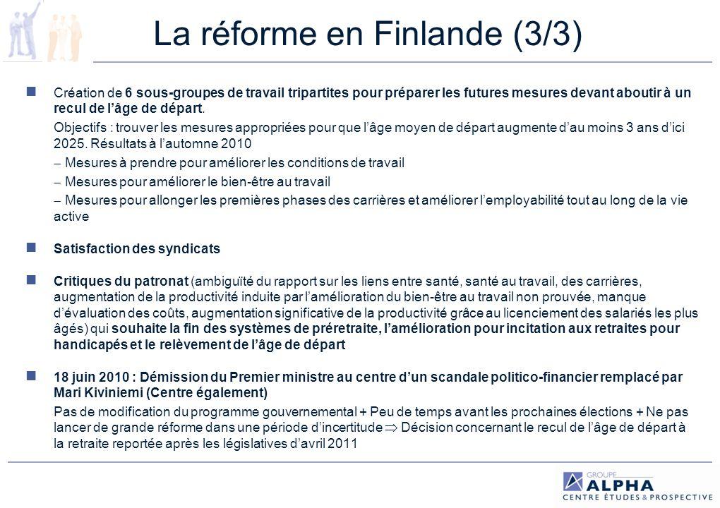 La réforme en Espagne (1/2) Programme de stabilité 2009-2013 : plan de rigueur budgétaire + annonce de projets de réforme déjà à lagenda : marché du travail et système de retraite publique.