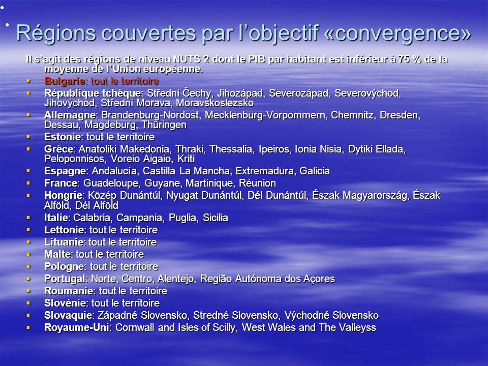 Régions couvertes par lobjectif «convergence» Il sagit des régions de niveau NUTS 2 dont le PIB par habitant est inférieur à 75 % de la moyenne de lUnion européenne.