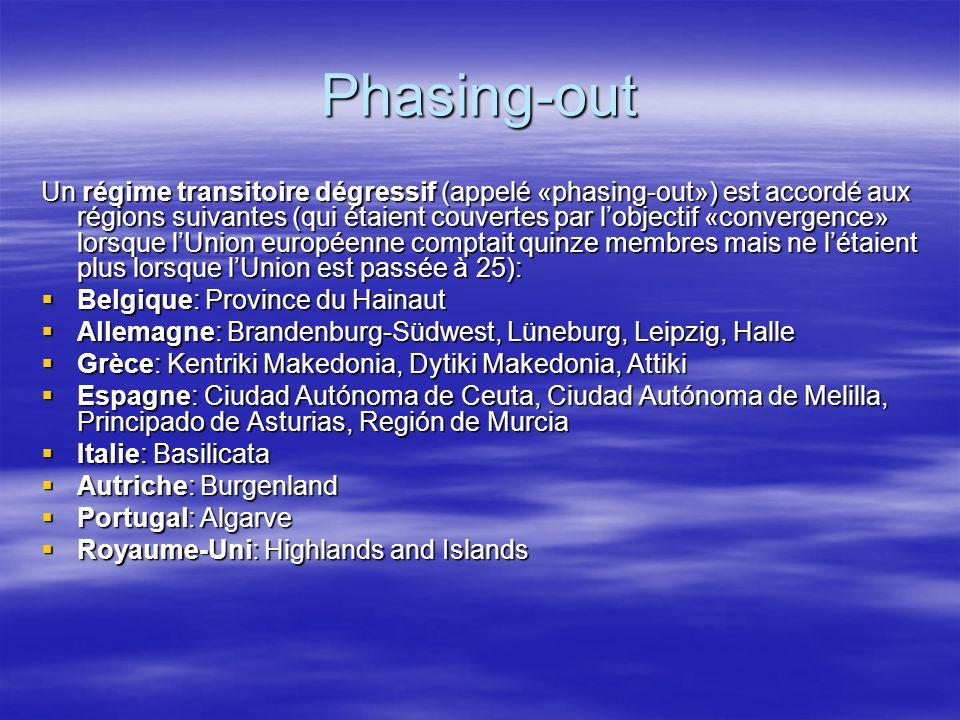 Phasing-out Un régime transitoire dégressif (appelé «phasing-out») est accordé aux régions suivantes (qui étaient couvertes par lobjectif «convergence» lorsque lUnion européenne comptait quinze membres mais ne létaient plus lorsque lUnion est passée à 25): Belgique: Province du Hainaut Belgique: Province du Hainaut Allemagne: Brandenburg-Südwest, Lüneburg, Leipzig, Halle Allemagne: Brandenburg-Südwest, Lüneburg, Leipzig, Halle Grèce: Kentriki Makedonia, Dytiki Makedonia, Attiki Grèce: Kentriki Makedonia, Dytiki Makedonia, Attiki Espagne: Ciudad Autónoma de Ceuta, Ciudad Autónoma de Melilla, Principado de Asturias, Región de Murcia Espagne: Ciudad Autónoma de Ceuta, Ciudad Autónoma de Melilla, Principado de Asturias, Región de Murcia Italie: Basilicata Italie: Basilicata Autriche: Burgenland Autriche: Burgenland Portugal: Algarve Portugal: Algarve Royaume-Uni: Highlands and Islands Royaume-Uni: Highlands and Islands