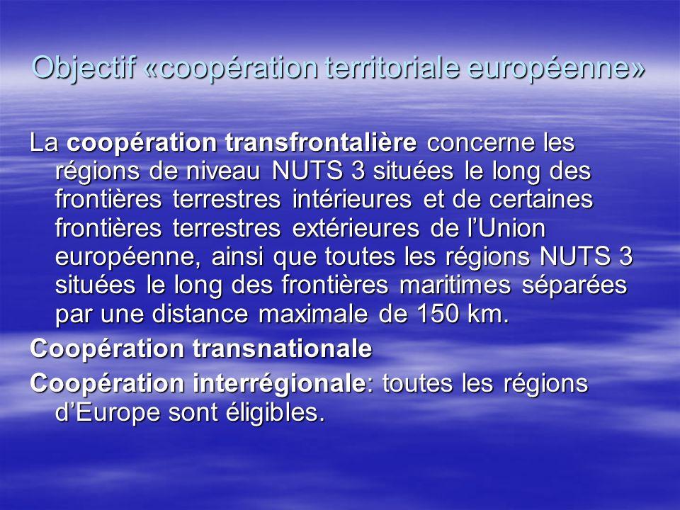 Objectif «coopération territoriale européenne» La coopération transfrontalière concerne les régions de niveau NUTS 3 situées le long des frontières terrestres intérieures et de certaines frontières terrestres extérieures de lUnion européenne, ainsi que toutes les régions NUTS 3 situées le long des frontières maritimes séparées par une distance maximale de 150 km.