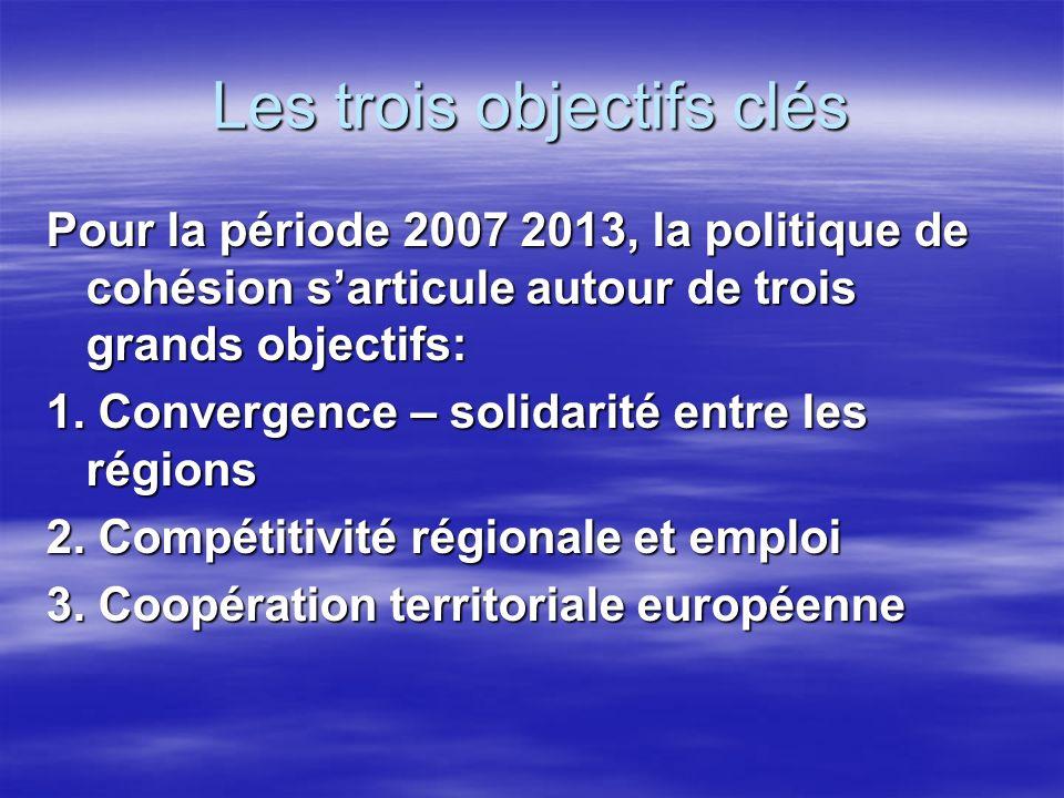 Les trois objectifs clés Pour la période 2007 2013, la politique de cohésion sarticule autour de trois grands objectifs: 1.