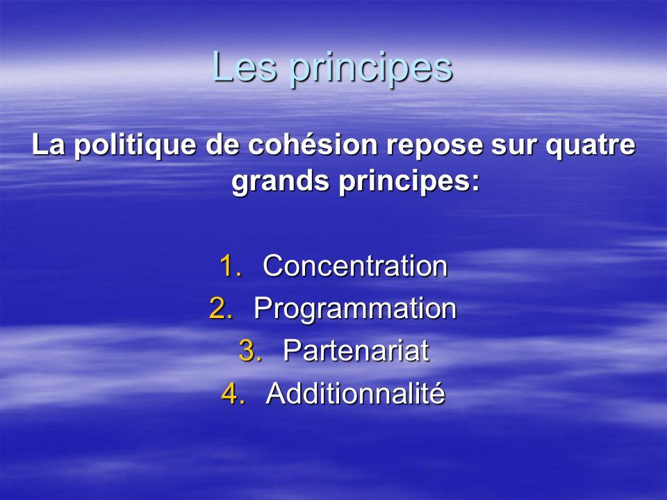 Les principes La politique de cohésion repose sur quatre grands principes: 1.Concentration 2.Programmation 3.Partenariat 4.Additionnalité
