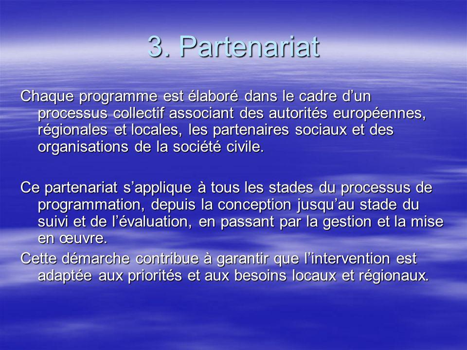 3. Partenariat Chaque programme est élaboré dans le cadre dun processus collectif associant des autorités européennes, régionales et locales, les part