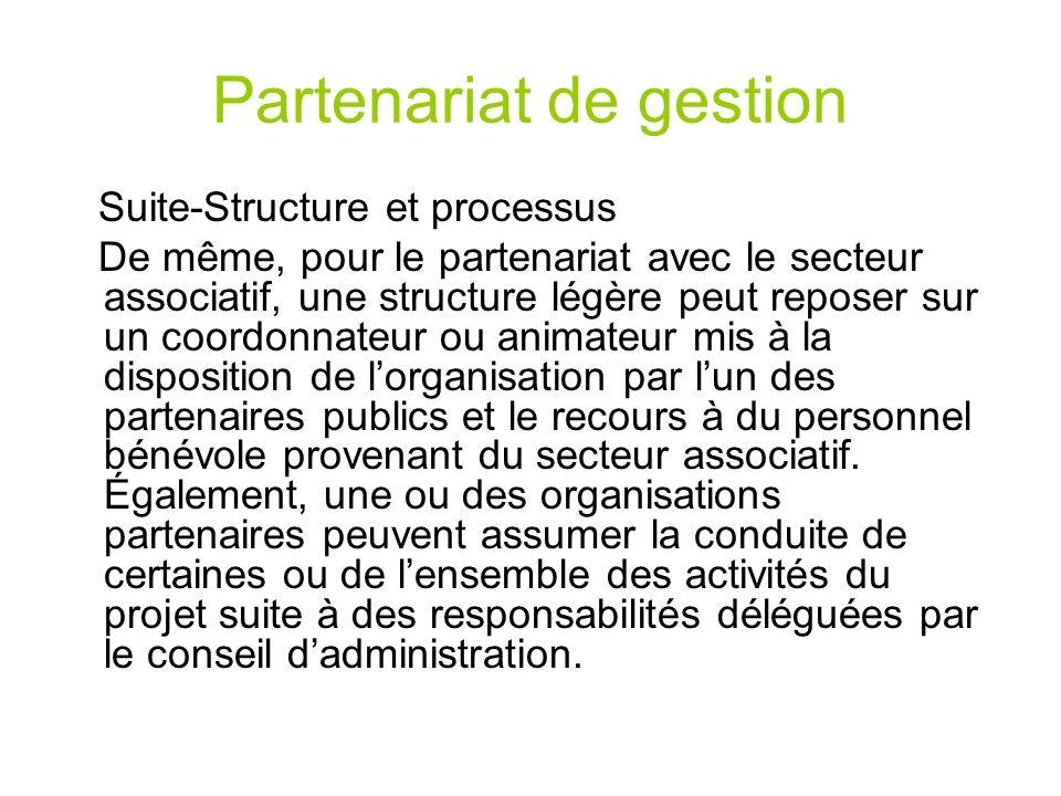 Partenariat de gestion Suite-Structure et processus De même, pour le partenariat avec le secteur associatif, une structure légère peut reposer sur un