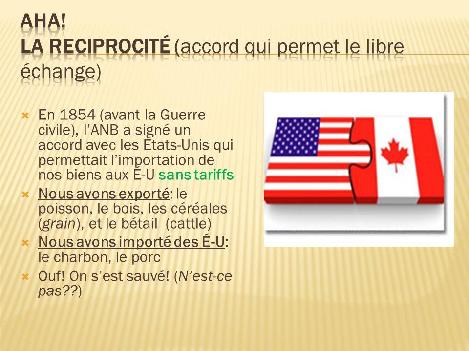 En 1854 (avant la Guerre civile), lANB a signé un accord avec les États-Unis qui permettait limportation de nos biens aux É-U sans tariffs Nous avons