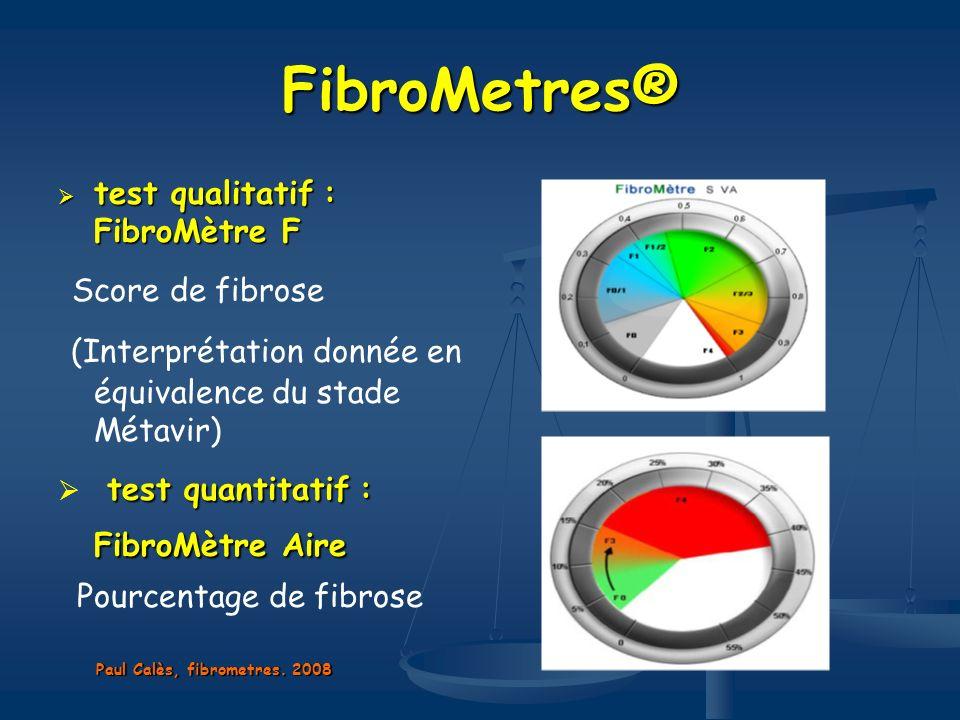 FibroMetres® test qualitatif: FibroMètre F test qualitatif : FibroMètre F Score de fibrose (Interprétation donnée en équivalence du stade Métavir) tes