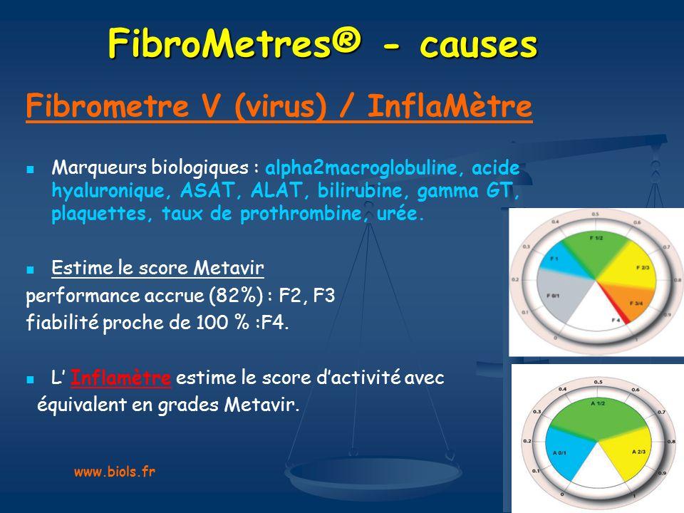 FibroMetres® - causes Fibrometre V (virus) / InflaMètre Marqueurs biologiques : alpha2macroglobuline, acide hyaluronique, ASAT, ALAT, bilirubine, gamm