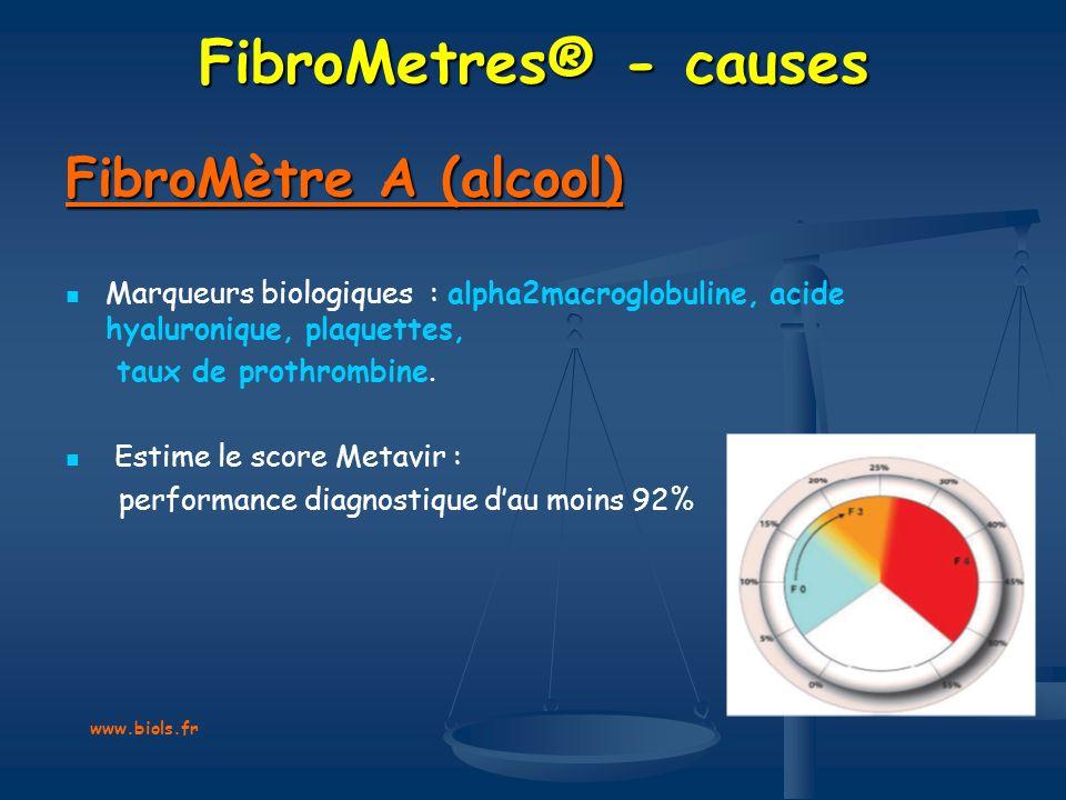 FibroMetres® - causes FibroMètre A (alcool) Marqueurs biologiques : alpha2macroglobuline, acide hyaluronique, plaquettes, taux de prothrombine. Estime