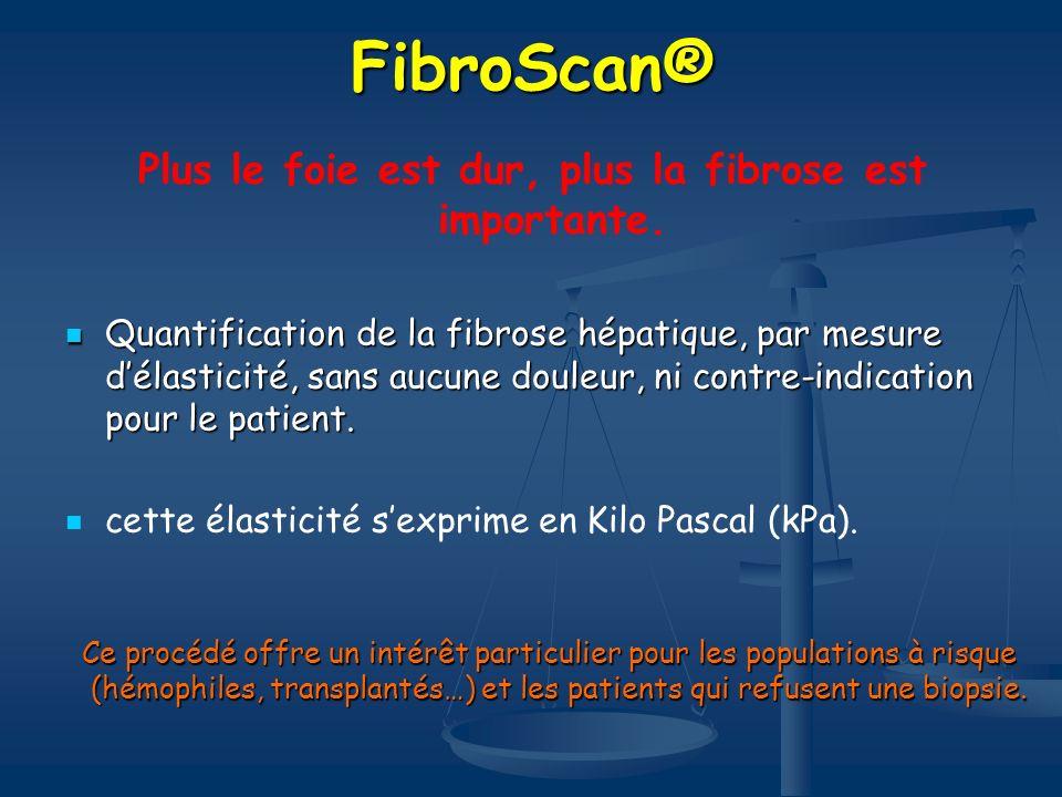 FibroScan® Plus le foie est dur, plus la fibrose est importante. Quantification de la fibrose hépatique, par mesure délasticité, sans aucune douleur,
