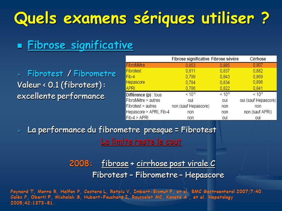 Quels examens sériques utiliser ? Fibrose significative Fibrose significative Fibrotest / Fibrometre Fibrotest / Fibrometre Valeur < 0.1 (fibrotest) :