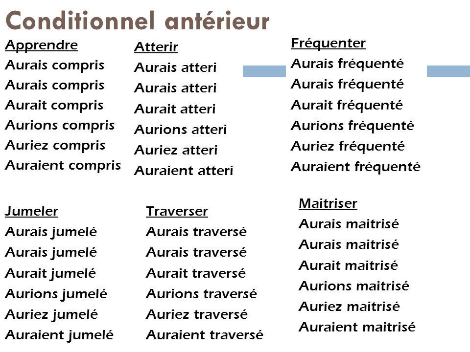 Conditionnel antérieur Apprendre Aurais compris Aurait compris Aurions compris Auriez compris Auraient compris Atterir Aurais atteri Aurait atteri Aur