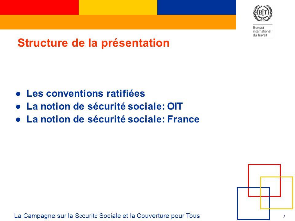 2 La Campagne sur la S é curit é Sociale et la Couverture pour Tous Structure de la présentation Les conventions ratifiées La notion de sécurité sociale: OIT La notion de sécurité sociale: France