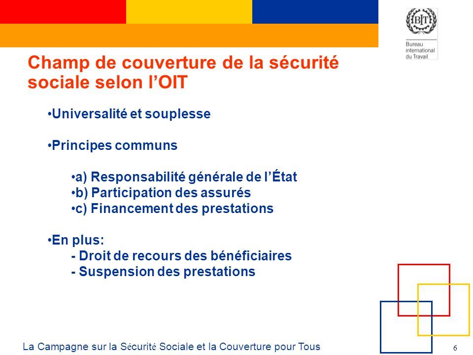 6 La Campagne sur la S é curit é Sociale et la Couverture pour Tous Champ de couverture de la sécurité sociale selon lOIT Universalité et souplesse Pr