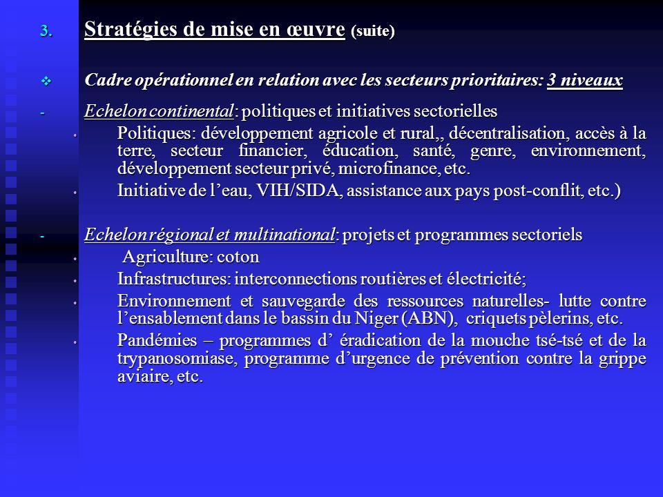 3. Stratégies de mise en œuvre (suite) Cadre opérationnel en relation avec les secteurs prioritaires: 3 niveaux Cadre opérationnel en relation avec le