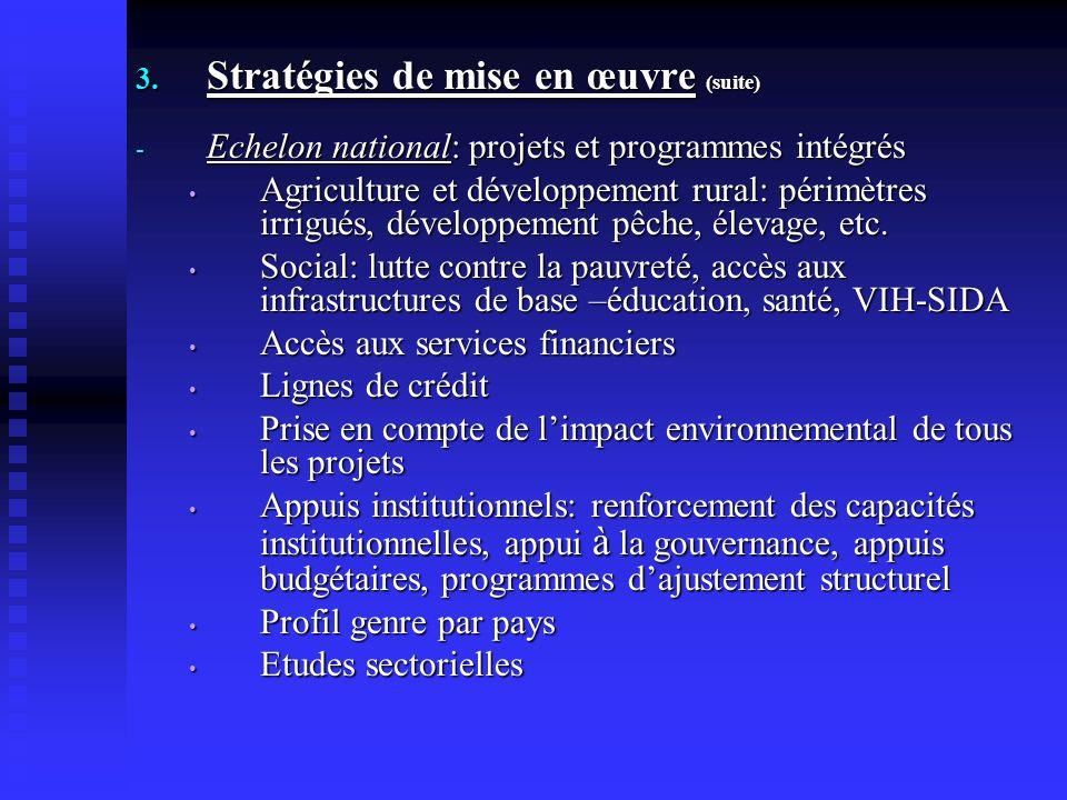 3. Stratégies de mise en œuvre (suite) - Echelon national: projets et programmes intégrés Agriculture et développement rural: périmètres irrigués, dév