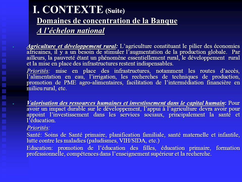 I. CONTEXTE (Suite) Domaines de concentration de la Banque A léchelon national - Agriculture et développement rural: Lagriculture constituant le pilie