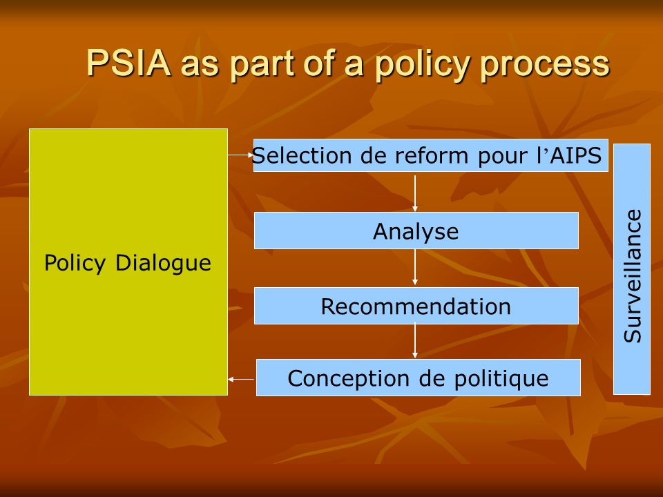 PSIA as part of a policy process Analyse Policy Dialogue Selection de reform pour l AIPS Surveillance Recommendation Conception de politique