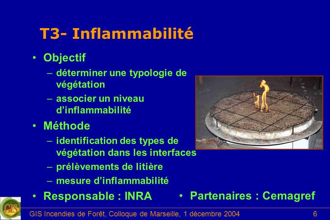 GIS Incendies de Forêt, Colloque de Marseille, 1 décembre 20046 T3- Inflammabilité Objectif –déterminer une typologie de végétation –associer un nivea