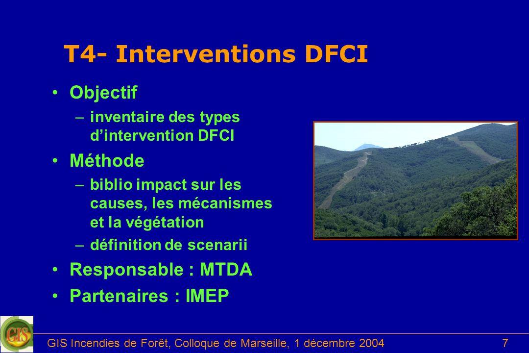 GIS Incendies de Forêt, Colloque de Marseille, 1 décembre 20047 T4- Interventions DFCI Objectif –inventaire des types dintervention DFCI Méthode –bibl