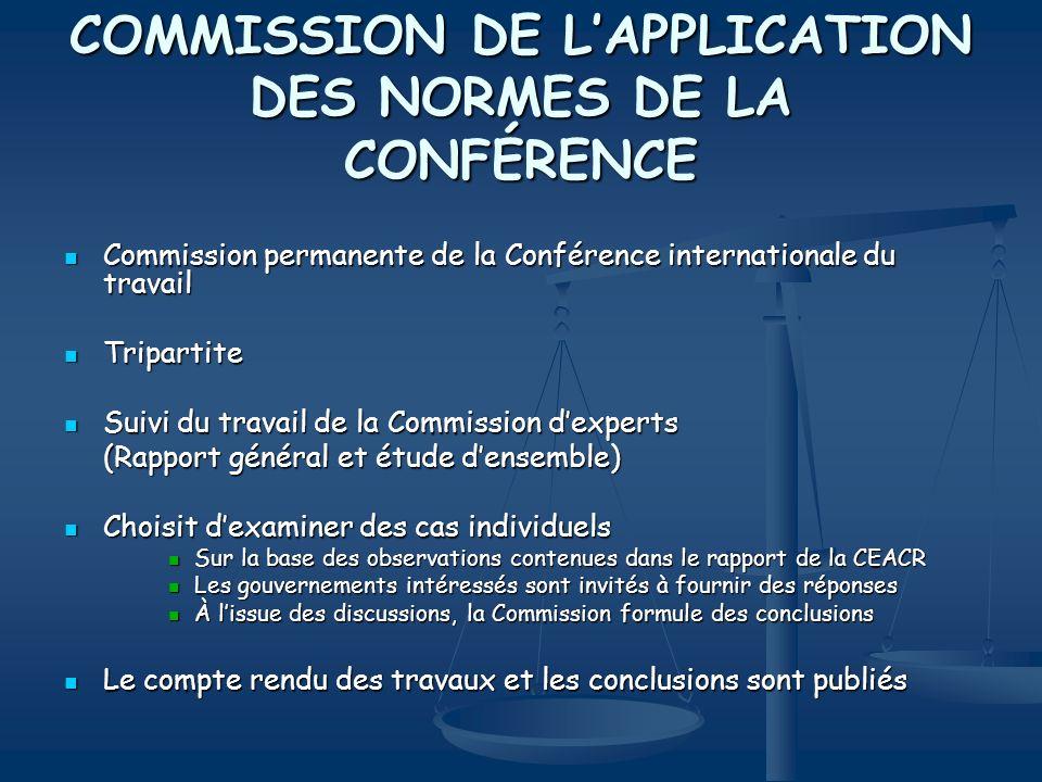 COMMISSION DE LAPPLICATION DES NORMES DE LA CONFÉRENCE Commission permanente de la Conférence internationale du travail Commission permanente de la Co