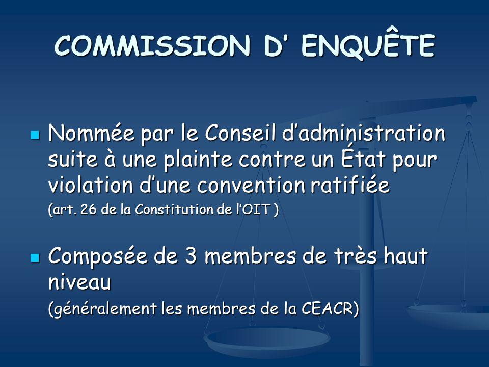COMMISSION D ENQUÊTE Nommée par le Conseil dadministration suite à une plainte contre un État pour violation dune convention ratifiée Nommée par le Co