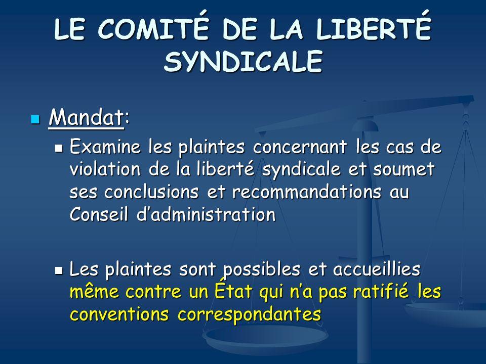 LE COMITÉ DE LA LIBERTÉ SYNDICALE Mandat: Mandat: Examine les plaintes concernant les cas de violation de la liberté syndicale et soumet ses conclusio
